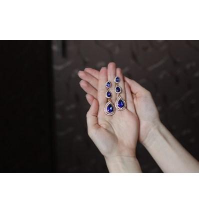 Свадебные серьги Три капельки синие