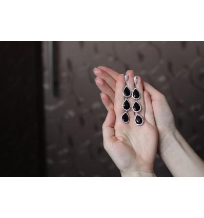 Серьги Три капельки черные