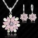 Свадебный набор из стерлингового серебра Розовый цветок