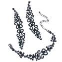 Набор украшений серьги и браслет Черное кружево