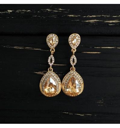 Серьги каплевидный золотой кристалл
