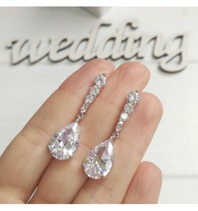"""Свадебные серьги """"Алмазный камень"""""""